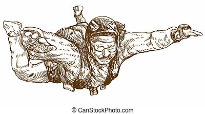 parachutist - An hand drawn illustration - parachutist