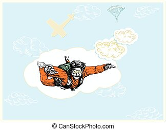 parachutist - An hand drawn vector illustration -...