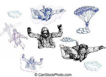skydivers, pack - An hand drawn vector pack - skydivers