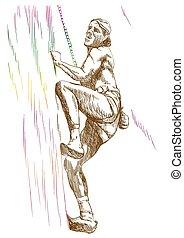 climber - an hand drawn illustration line art - climber...