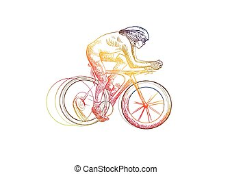 Cycling - Cyclist - An hand drawn illustration line art -...