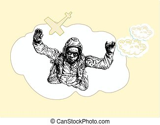 skydiver - an hand drawn illustration- skydiver