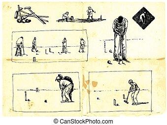 croquet - line art, an hand drawn pack - croquet pack