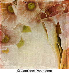 Old canvas and floral print - Old canvas background with...