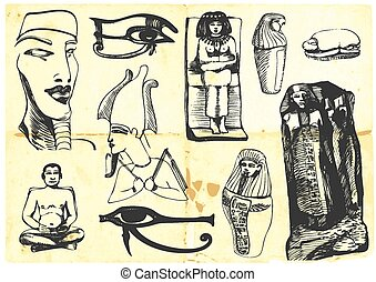 egypt - An hand draw illustration - (black marker technique)...