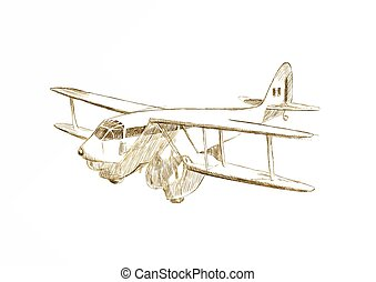 aeroplane - An hand draw  illustration - aeroplane (biplane)