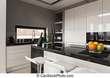Black and white kitchen design - Picture of black and white...