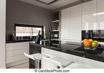 negro, y, blanco, cocina, diseño,