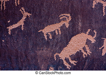 Petroglyphs at Newspaper Rock, Indian Creek, Utah -...
