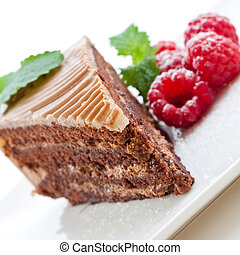 Fresh chocolate cake with raspberries on a white plate