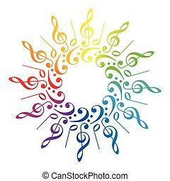 Music Clefs Radial Rainbow Pattern - Treble clefs, bass...