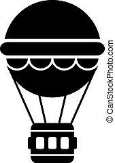 Hot air balloon icon on white background