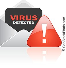 Computer virus alert icon on white background