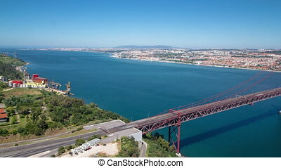 25th of April Suspension Bridge over the Tagus river,...
