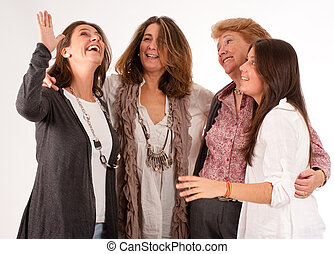 Women fun - Isolated image of four women of different...