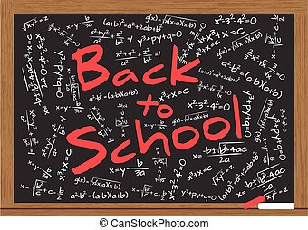 "back to school math - illustration of billboard with ""back..."