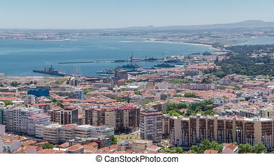 Lisbon on the Tagus river bank, central Portugal timelapse -...