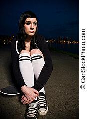 Beautiful skater teen girl - A beautiful caucasian skater...
