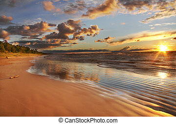 Lake Huron beach at sunset - Grand Bend, Ontario, Canada