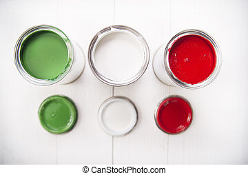 Three paint cans - Presentation of the flag of the Italian...