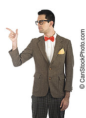 Nerd isolated on white - A young, caucasian nerd, pointing,...