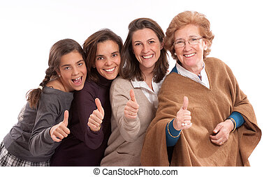 Happy girls - Isolated image of for women of different...