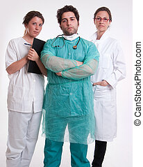 Hospital staff - Medical staff team with a surgeon a...