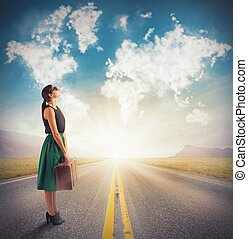 Clouds next destination - Woman sees in clouds her next...