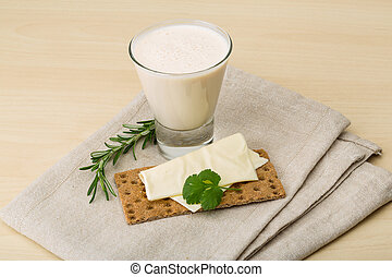 Kefir - Traditional dietary dairy produkt kefir with napkin...