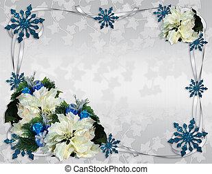 Christmas border white poinsettias elegant - Image and...