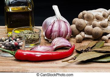 Vegetales y especias - Varios vegetales, especias y aceite...