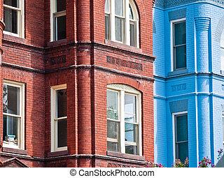 clássico, tijolo, lares, Alexandria, Virgínia