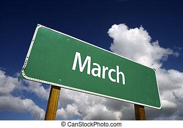 3月, 緑, 道, 印
