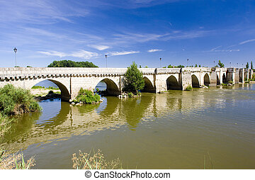 bridge of the 12th century, Simancas, Valladolid Province,...