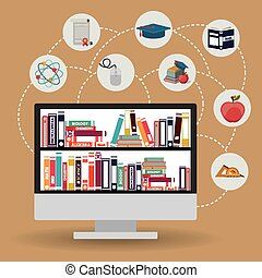 e-learning design over brown background, vector illustration