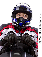 Female Racer - young female race car driver in a racing suit...