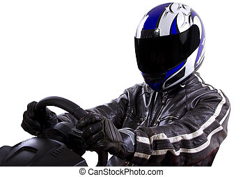 Leather Clad Racer - race car driver wearing protective...
