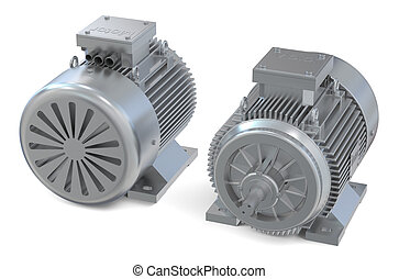 Industrial electric motors, front and back view isolated on...