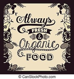 Organic Food design over vintage background, vector...