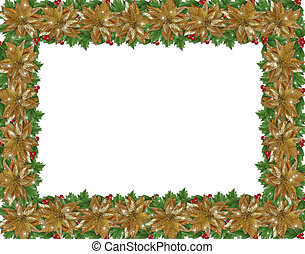 Christmas holiday border holly gold poinsettias - Image and...
