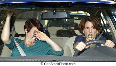 Dangerous Driving - reckless driver and scared female...