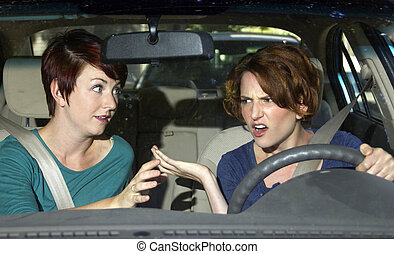 Backseat Driver - annoying female passenger by being a...