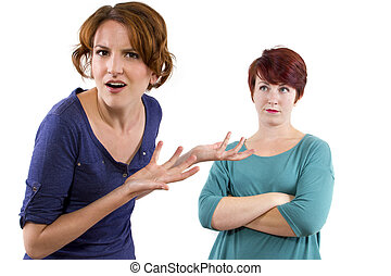 Distrusting Rivals - two Caucasian women arguing and...