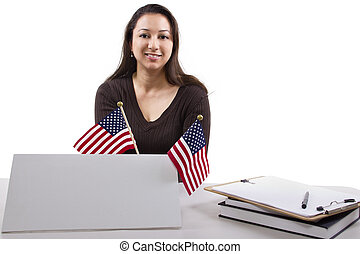 Government Job - State or Federal female worker with a blank...