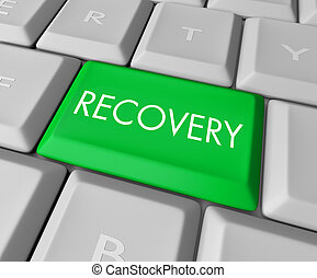 Recovery Key on Computer Keyboard - A keyboard with a green...