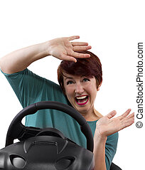 Female Driver - young female driver on a white background