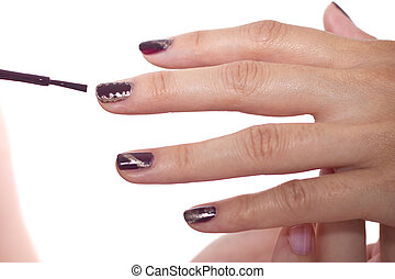 Nail Art - Modern nail art with patterns and custom polish...