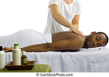 Spa Products - masseuse showing off spa products for men