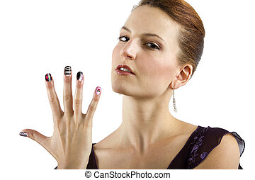 Nail Art - female model showing nail art