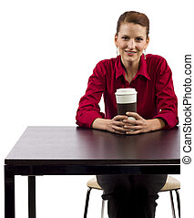 Coffee Shop - young woman in a coffee shop white background